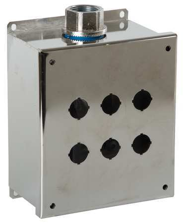 Pushbutton Enclosure 22mm 6 Holes 304 SS by USA GE Electrical Pushbutton Enclosures & Accessories
