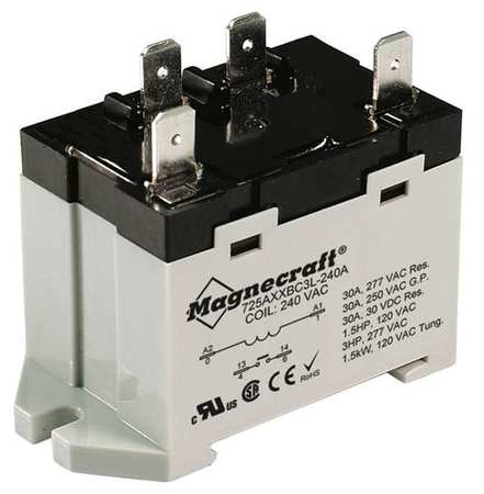 Enclosed Power Relay 4 Pin 12VDC SPST NO Model 725AXXBC3ML 12D by USA Schneider Electrical Specialty Relays