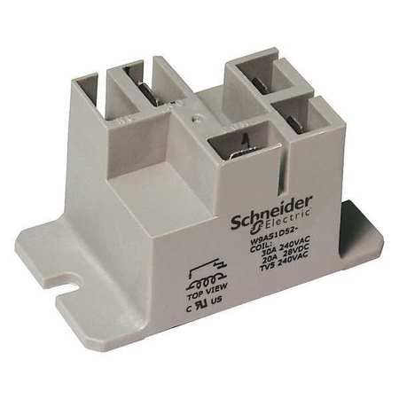 Enclosed Power Relay 4 Pin 12VDC SPST NO Model 9AS1D52 12 by USA Schneider Electrical Specialty Relays