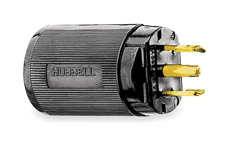 15A Midget Locking Plug 3P 3W 120/240VAC ML 3P BK Model HBL7485V by USA Hubbell Kellems Electrical Locking Plugs