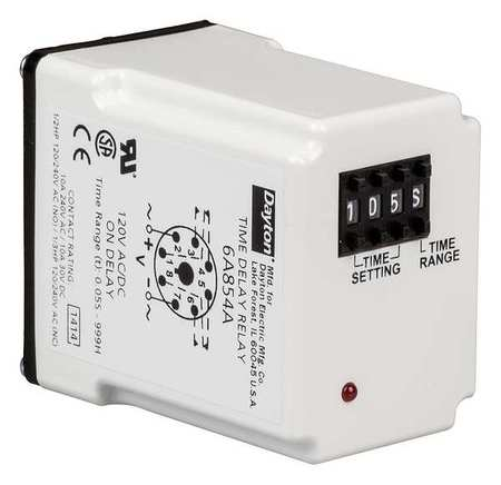 Time Delay Relay 120VAC/DC 10A DPDT LED by USA Dayton Electrical Time Delay Relays