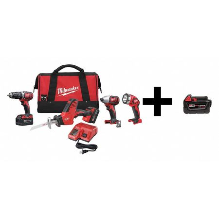 Milwaukee 2695-24 18-Volt Lithium-Ion Cordless Combo Tool Kit (4-Tool) w / (2) 3.0Ah Batteries