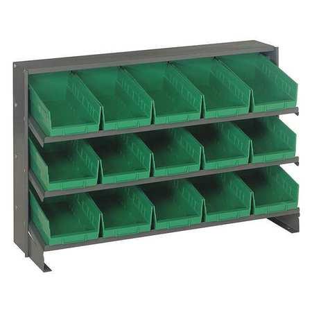 Sloped Shelving System,15 Bins,green