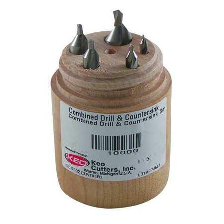 KEO Drill/Countersink Set 5PC 60 Deg Carbide