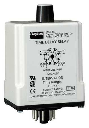 Time Delay Relay 120VAC/DC 10A DPDT Model 1EGC8 by USA Dayton Electrical Time Delay Relays