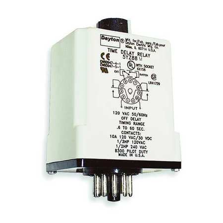 Time Delay Relay 120VAC/DC 10A DPDT Model 1EGC2 by USA Dayton Electrical Time Delay Relays