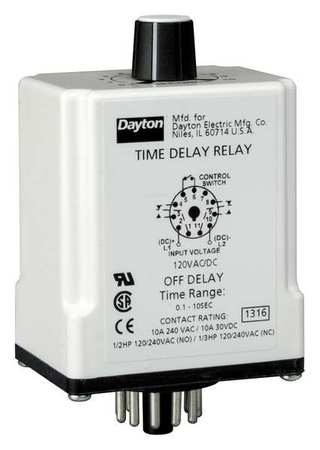 Time Dlay Rlay 120VAC/DC 10A DPDT 9 sec. by USA Dayton Electrical Time Delay Relays