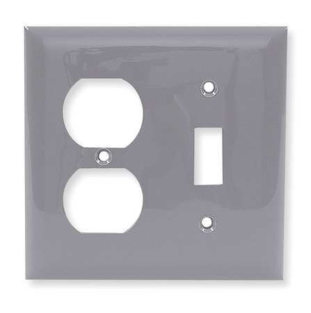 Toggle Switch/Duplex Plate 2 Gang Gray by USA Hubbell Kellems Electrical Wall Plates