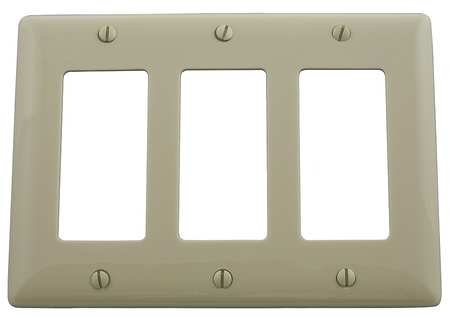 Rocker Wall Plate 3 Gang Ivory by USA Hubbell Kellems Electrical Wall Plates