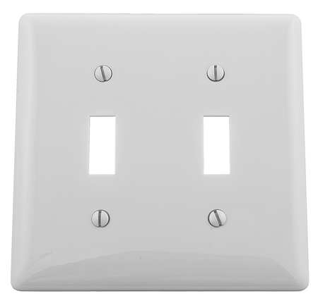 Toggle Switch Wall Plate 2 Gang White by USA Hubbell Kellems Electrical Wall Plates