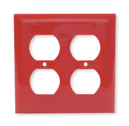 Duplex Wall Plate 2 Gang Red by USA Hubbell Kellems Electrical Wall Plates