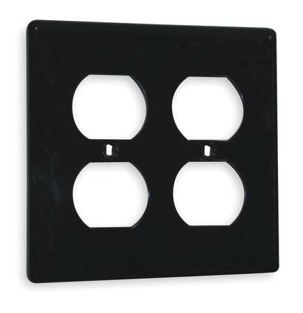 Duplex Wall Plate 2 Gang Black by USA Hubbell Kellems Electrical Wall Plates