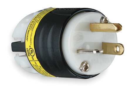 3 Wire Ground Monitoring Straight Blade Plug 125VAC 20A by USA Legrand Electrical Straight Blade Plugs