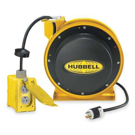 Cord Reel 45 ft 12/3 SJEO Yellow 120VAC Model HBL45123R20 by USA Hubbell Kellems Extension Cord Reels