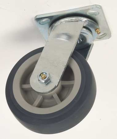 Value Brand Swivel Plate Caster Therm Rubber 6 in 450 lb Gry
