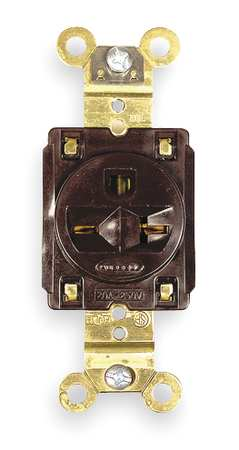 20A Single Receptacle 250VAC 6 20R BN by USA Hubbell Kellems Electrical Straight Blade Receptacles
