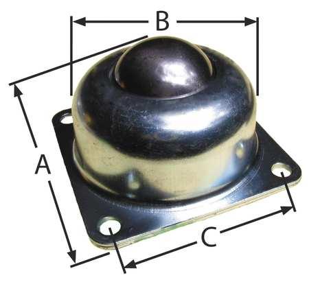 Ashland Ball Transfer Flange 1-1/2In Ball Dia Type BT F 4H 1.5DIA 250 SS/SS
