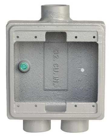 Weatherproof Box 2Gang 1/2 3/4 Hub Iron by USA Appleton Electrical Weatherproof Boxes