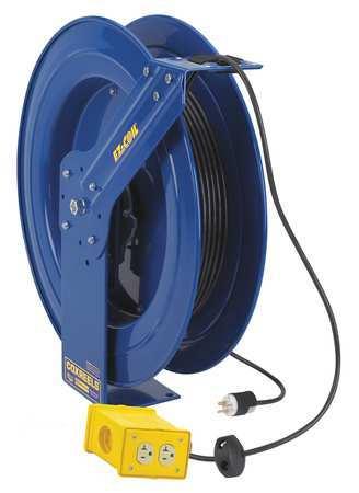 Cord Reel 100 ft 12/3 SJO Blue 120VAC Model EZ PC24 0012 B by USA Coxreels Extension Cord Reels