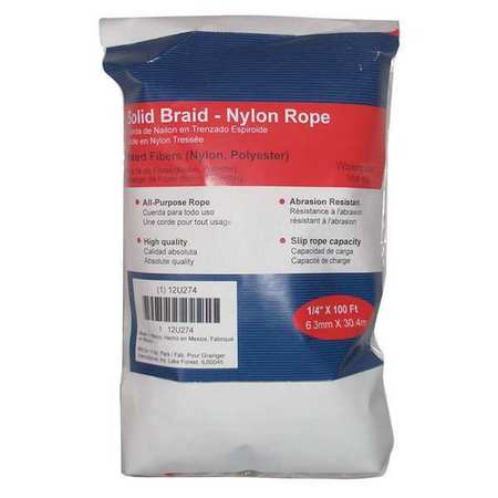 Value Brand Rope Nylon Braided 1/4 In. dia. 100 ft L