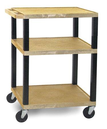 Value Brand Utility Cart 300 lb. Cap. Resin 2 Shlvs Type WT34TNE-B