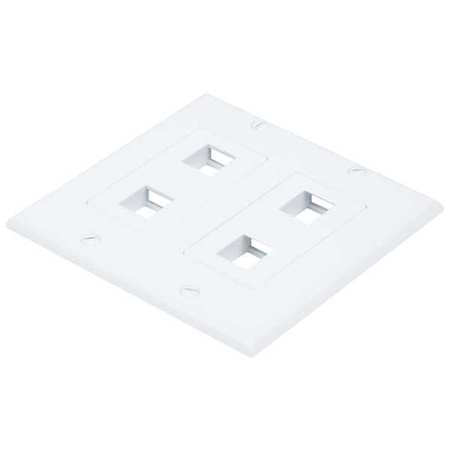 WallPlate Blank 4 Hole 2 Gang White by USA Monoprice Voice & Data Outlets Boxes Faceplates