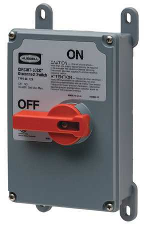 30 Amp 600VAC Single Throw Enclosed Disconnect Switch 3P Model HBLDS3VFD by USA Hubbell Kellems Electrical Safety & Disconnect Switches