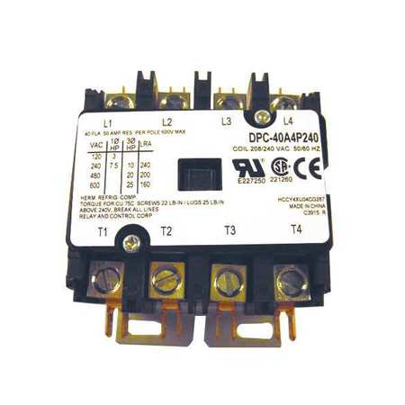 Defn Purpose Contactor 40A 4 Pole 240VAC by USA Relay & Control Electrical Motor Magnetic Contactors