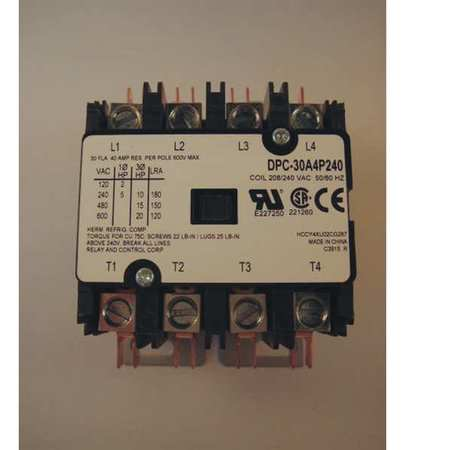 Defn Purpose Contactor 30A 4 Pole 240VAC by USA Relay & Control Electrical Motor Magnetic Contactors