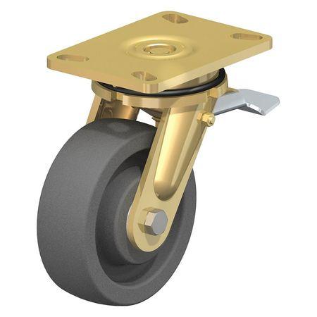 """Blickle Swivel Plate Caster Gray Nylon 5"""" Brake Type LS-SPOG 127K-16-ST"""