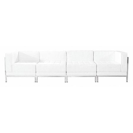 Leather Lounge Set,4 pcs.,White