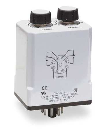 Time Delay Relay 120VAC/DC 10A DPDT Model 1EGD2 by USA Dayton Electrical Time Delay Relays